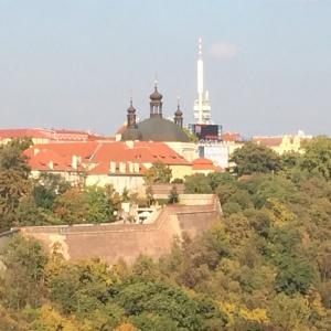 Alt und neu einträchtig nebeneinander (Basilika und Fernsehturm)